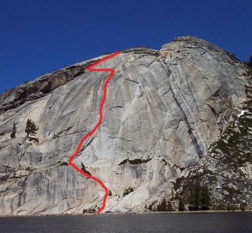 This route ascends a flake in the mirror-image of California.