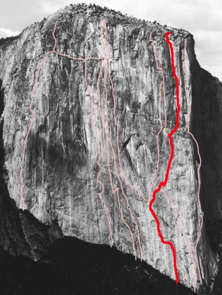 The Muir Wall is one of El Cap's greatest natural lines.