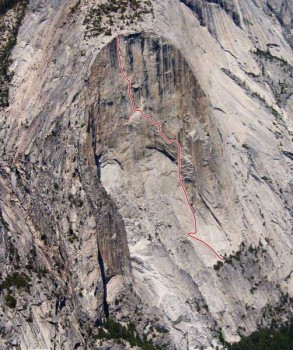 Mt. Watkins - South Face C2 5.8 - Yosemite Valley, California USA. Click to Enlarge