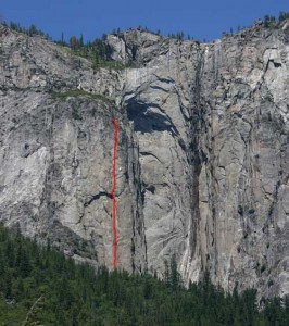 Ribbon Fall Wall - Gold Wall C2 5.9 - Yosemite Valley, California USA. Click to Enlarge