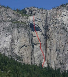 Ribbon Fall Wall - Reason Beyond Insanity A3+ 5.7 - Yosemite Valley, California USA. Click to Enlarge