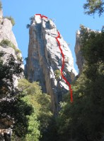 Arrowhead Arete - Arrowhead Arete 5.8 - Yosemite Valley, California USA. Click to Enlarge