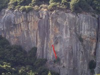 The Cookie Cliff - Aftershock 5.11b - Yosemite Valley, California USA. Click to Enlarge