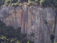 The Cookie Cliff - Elevator Shaft 5.8 R - Yosemite Valley, California USA. Click to Enlarge