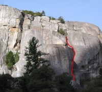The Cookie Cliff - The Enema 5.11b - Yosemite Valley, California USA. Click to Enlarge
