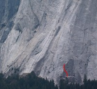 Glacier Point Apron - Chouinard Crack 5.8 - Yosemite Valley, California USA. Click to Enlarge