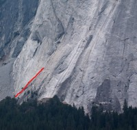 Glacier Point Apron - The Grack, Center 5.6 - Yosemite Valley, California USA. Click to Enlarge