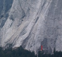 Glacier Point Apron - Variation on a Theme 5.10b R - Yosemite Valley, California USA. Click to Enlarge
