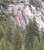 Knob Hill - Sloth Wall 5.7 - Yosemite Valley, California USA. Click to Enlarge