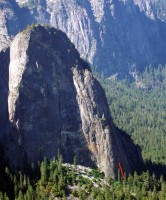 Lower Cathedral Rock - 76 Degrees in the Shade 5.10c - Yosemite Valley, California USA. Click to Enlarge