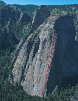 Middle Cathedral - Direct North Buttress 5.11 or 5.10 A0 - Yosemite Valley, California USA. Click to Enlarge