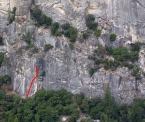 Pat and Jack Pinnacle - Trough of Justice 5.10b - Yosemite Valley, California USA. Click to Enlarge