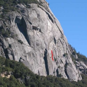 Reed's Pinnacle - Bongs Away, Left 5.8 - Yosemite Valley, California USA. Click to Enlarge
