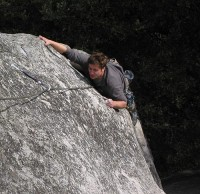 Swan Slab - Goat for It 5.10a - Yosemite Valley, California USA. Click to Enlarge