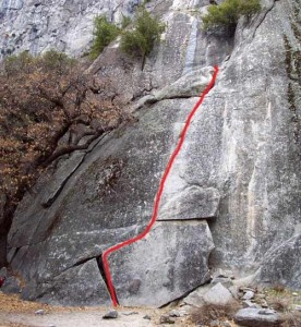 Swan Slab - Grant's Crack 5.9 - Yosemite Valley, California USA. Click to Enlarge