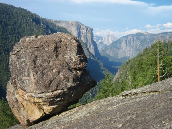 The main boulder with stunning view of Yosemite Valley.