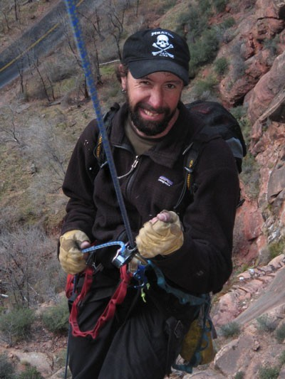 Ammon McNeely rapping a too skinny rope (8mm?) with a Petzl Gr...