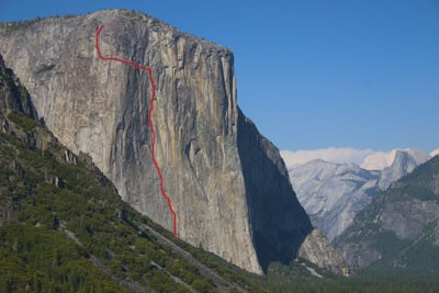 The route line for Horse Chute, El Capitan, A3 5.7