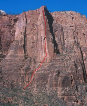 Moonlight Buttress Area - Moonlight Buttress 5.12d or 5.9 C1 - Zion National Park, Utah, USA. Click to Enlarge
