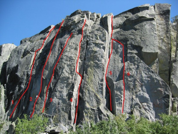 The routes on the left side at the main wall of Eagle Lake Cliff