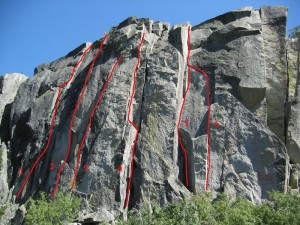 Eagle Lake Cliff - Moonflower (aka Nagual) 5.10a - Lake Tahoe, California, USA. Click to Enlarge