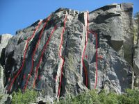Eagle Lake Cliff - Seams to Me 5.10c - Lake Tahoe, California, USA. Click to Enlarge