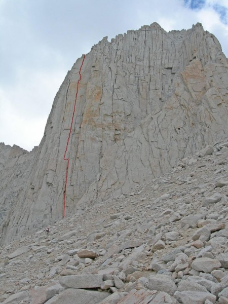 Looking up at the route from the base.