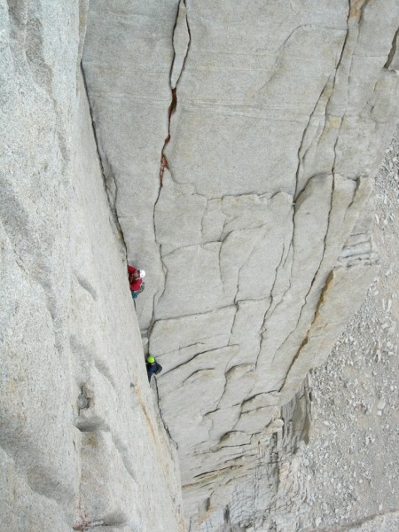 Climbers around pitch 4 Mithral Dihedral Mt. Russell