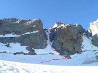 Polemonium Peak - V Notch Couloir III+ AI 4 5.5-5.8 - High Sierra, California USA. Click to Enlarge
