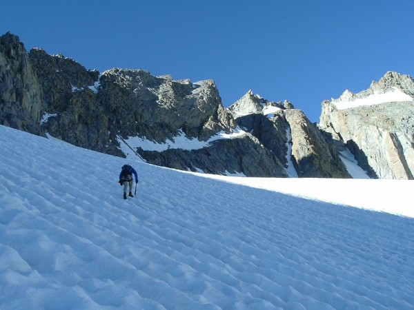 The approach to the V Notch Couloir.