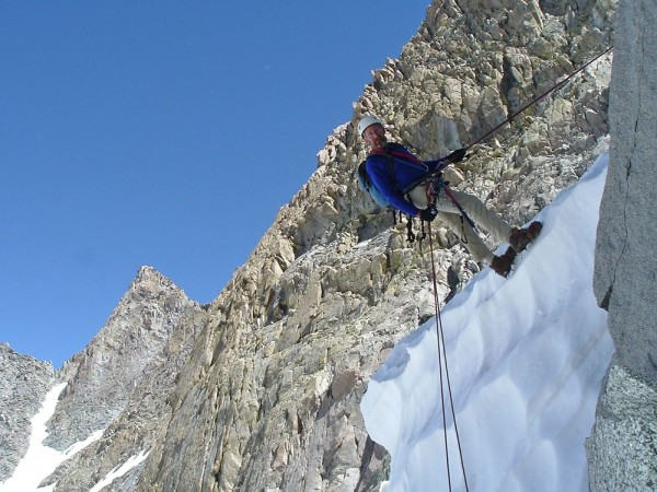 Last rappel over the bergshrund on U Notch Couloir