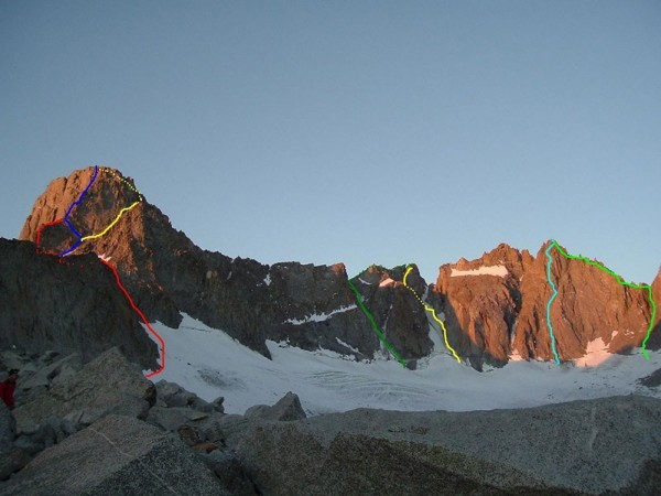 The Palisades climbs. From left to right in blue line = Swiss Arete of...