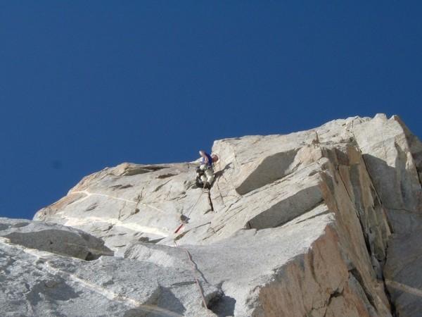 Ken Kenaga on the first pitch of Pirate, Starlight Peak.