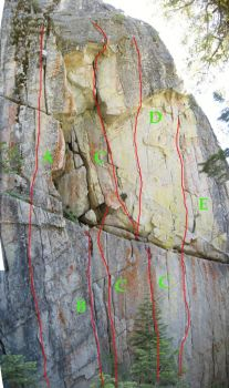 Lover's Leap, Dear John Buttress - Stone Cold Crazy 5.12c - Lake Tahoe, California, USA. Click to Enlarge