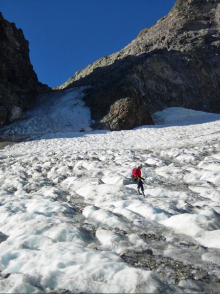 Dana Couloir on 8-17-08. Not cold enough, far too much loose and falli...