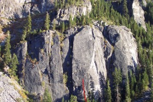 Lover's Leap, Lower Buttress - Strawbilly Tango 5.12b - Lake Tahoe, California, USA. Click to Enlarge