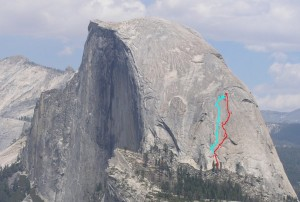 Half Dome - Two Hoofers 5.12 or 5.10b A0 - Yosemite Valley, California USA. Click to Enlarge