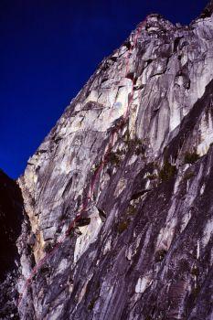 Colchuck Balanced Rock - West Face III 5.11 C1 - North Cascades, Washington, USA. Click to Enlarge