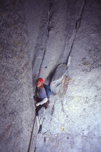 Mark Westman at the belay under the giant roof.