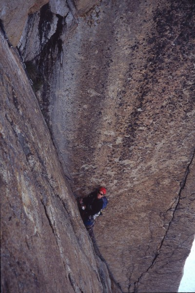 Mark Westman following the huge corner on the 2nd pitch of Thin Red Li...
