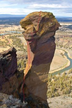 Monkey Face - Pioneer Route II 5.7 C1 - Smith Rocks, Oregon, USA. Click to Enlarge