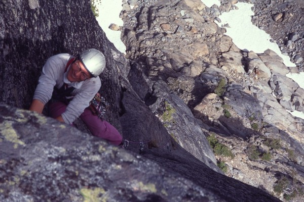 Uwe Ehret leading the crux of the lower North Ridge.