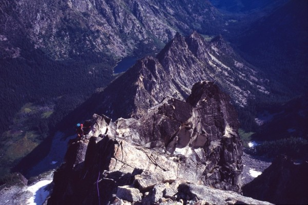 Mark Westman on the knife-edge ridge portion of the North Ridge.