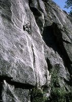 Eagle Creek Cliff - Shy Boy 5.11a - Lake Tahoe, California, USA. Click to Enlarge