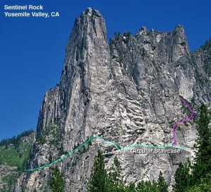 Sentinel Rock - Circular Staircase 5.8 - Yosemite Valley, California USA. Click to Enlarge