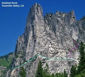 Sentinel Rock - Circular Staircase 5.8 - Yosemite Valley, California USA. Click to Enlarge