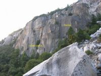 The Cookie Cliff - The Cookie, Center Route 5.9 - Yosemite Valley, California USA. Click to Enlarge