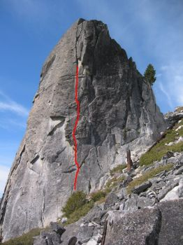 Phantom Spires, Upper Spire - Thanksgiving 5.9 - Lake Tahoe, California, USA. Click to Enlarge