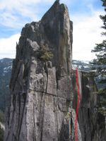 Phantom Spires, Upper Spire - Beast of No Nation 5.11d - Lake Tahoe, California, USA. Click to Enlarge