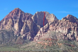Rainbow Wall - Rainbow Wall 5.12b - Red Rocks, Nevada USA. Click to Enlarge